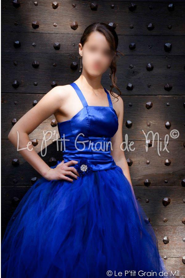 Robe tutu jeune fille adolescente bleu roi mariage ceremonie