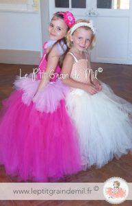 robe tutu de princesse petite fille ultra bouffante en tulle rose et ivoire