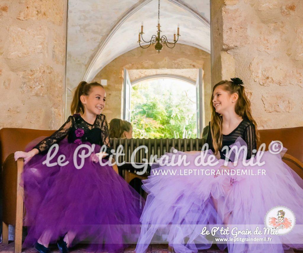 robe tutu fille de princesse en tulle rose et noir dentelle mariage cérémonie demoiselle d'honneur