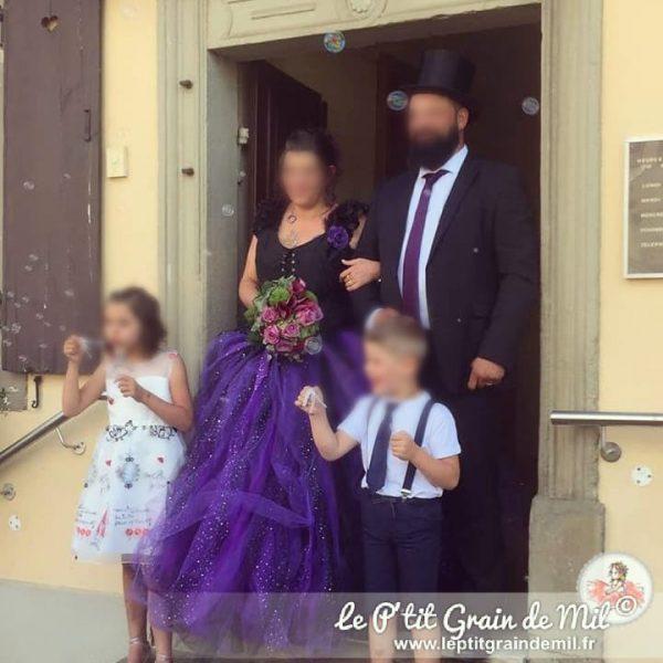 robe tutu de mariée en tulle gothique steampunk noir et violet