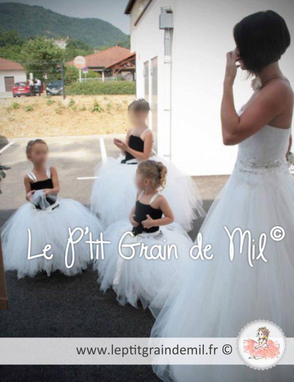 Robe Tutu de Demoiselle d'Honneur Petite Fille Mariage Noir et Blanc