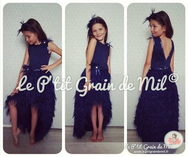 robe de cérémonie enfant en plumes gatsby charleston annees 20