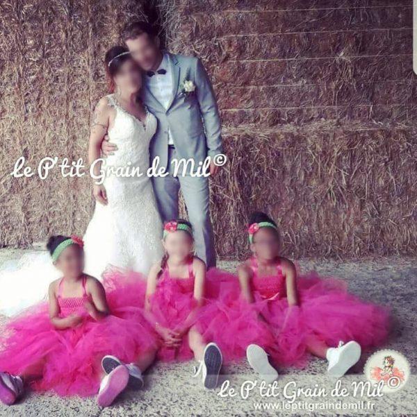 robe tutu fille mariage demoiselle d'honneur rose fuchsia