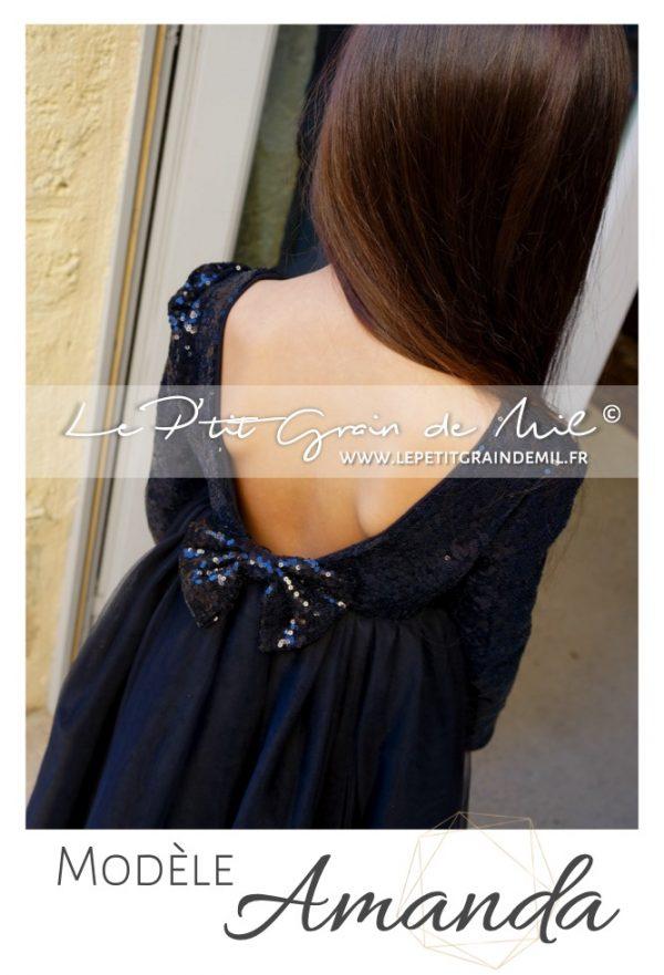 robe tutu noire dos nu de soirée pour petite fille