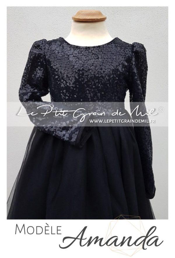 robe tutu fille noire avec sequins et dos nu cérémonie mariage soirée