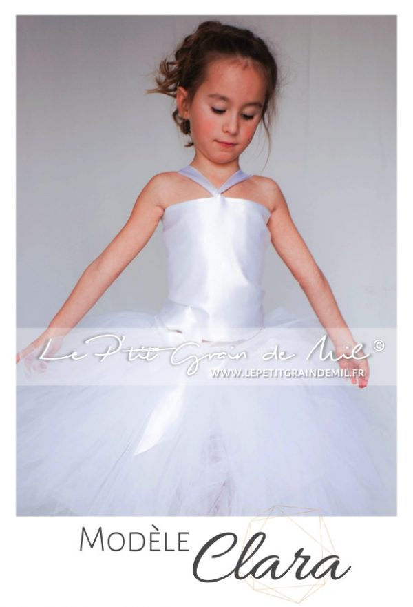 Robe de ceremonie fille ensemble bustier et jupon en tulle blanc