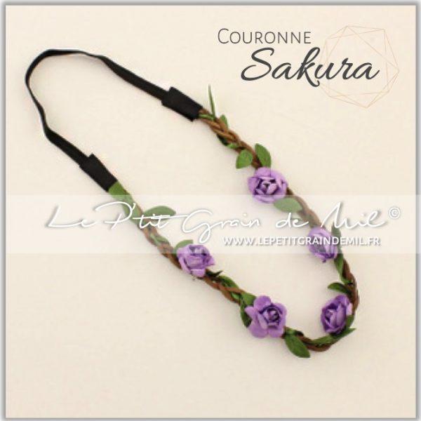 couronne de fleurs bébé petite fille mariage violet