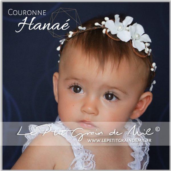 couronne florale blanche bébé fille baptême mariage