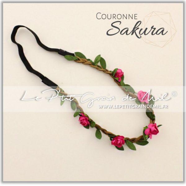 couronne florale bébé petite fille mariage rose fushia