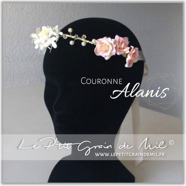 couronne florale de fleurs pastel bébé petite fille pêche ivoire rubans mariage