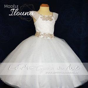mini robe de mariée enfant fille tutu princesse bébé fille blanche ultra volume tulle dentelle strass mariage bapteme
