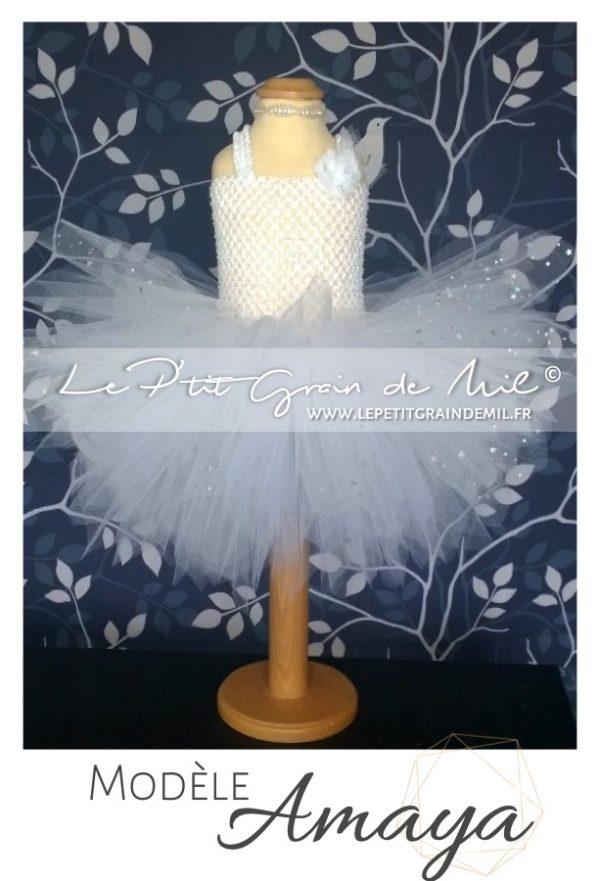 robe tutu baptême bébé fille blanche courte