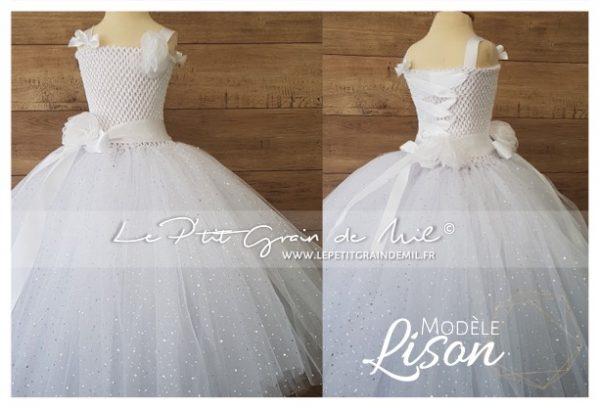 robe tutu de princesse mini mariée tulle blanc paillettes communion baptême
