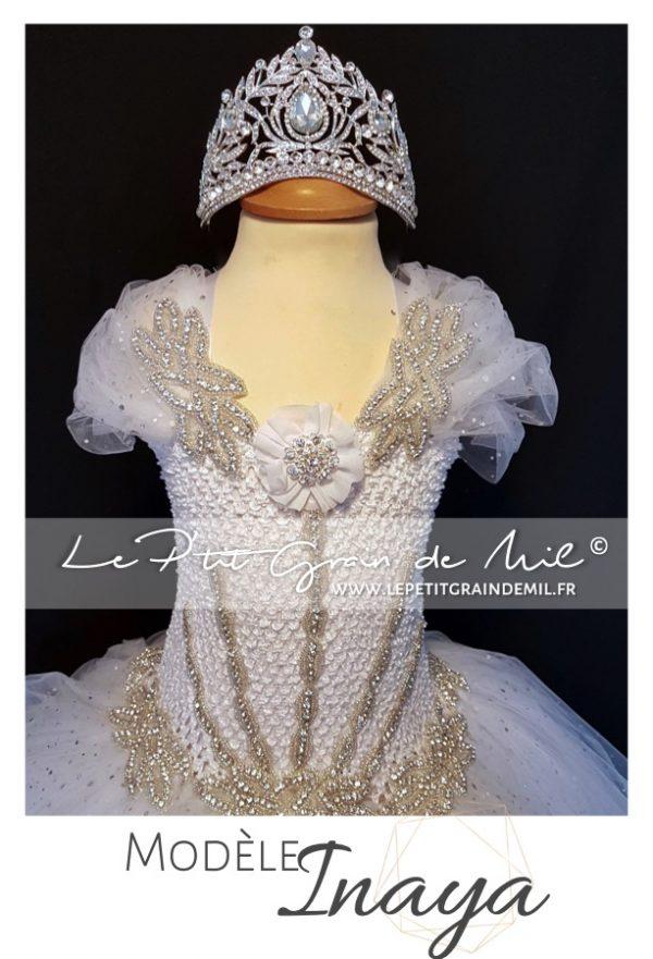 mini robe de mariée fille princesse paillettes strass