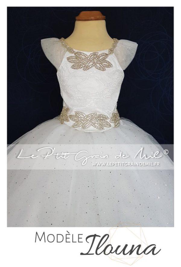 robe tutu de princesse strass tulle et dentelle bapteme mini mariée