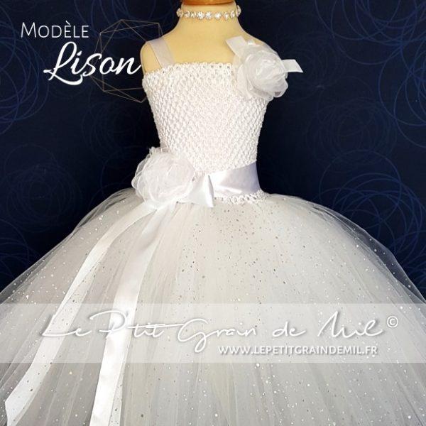 robe tutu de princesse tulle blanc paillettes communion baptême