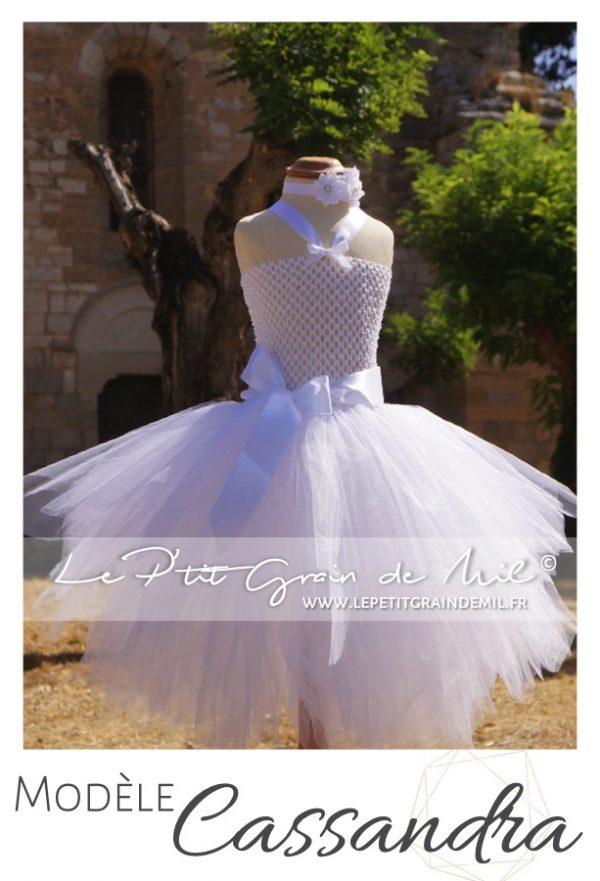 robe tutu fille en tulle blanche ceremonie bapteme mariage
