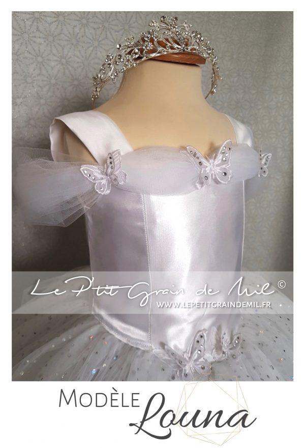 robe tutu princesse mariage cendrillon en tulle blanche cérémonie communion papillons