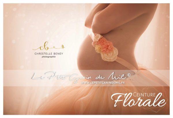 ceinture florale de fleurs maternité shooting photo