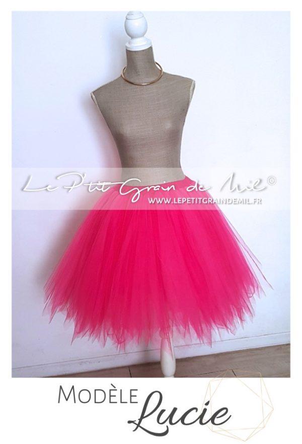 jupe tutu femme noir rose fuchsia fluo coloris au choix