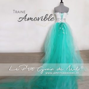 jupon tulle traine amovible