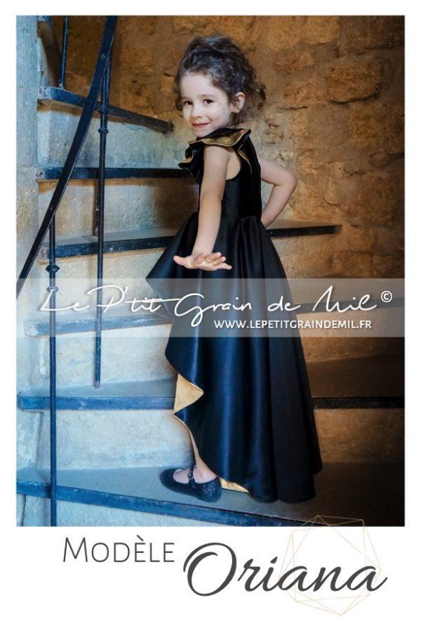 robe avec traine de cérémonie soirée enfant fille luxe créateur france satin noire et or mariage