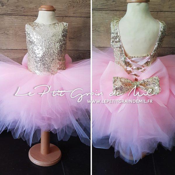 robe bébé or rose cérémonie anniversaire mariage princesse mouchoirs de tulle et sequins doré gros noeud