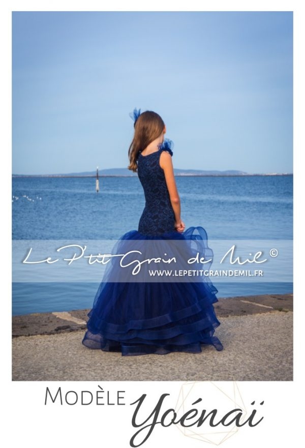 robe cérémonie maroage ado bleu marine forme sirene mariage theme marin mer