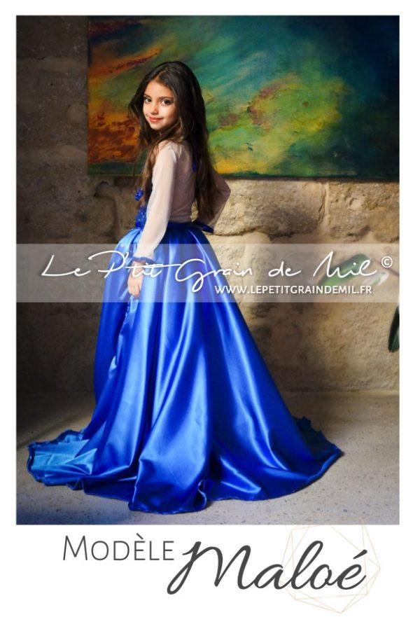 robe de bal enfant cortege mariage bleu roi princesse