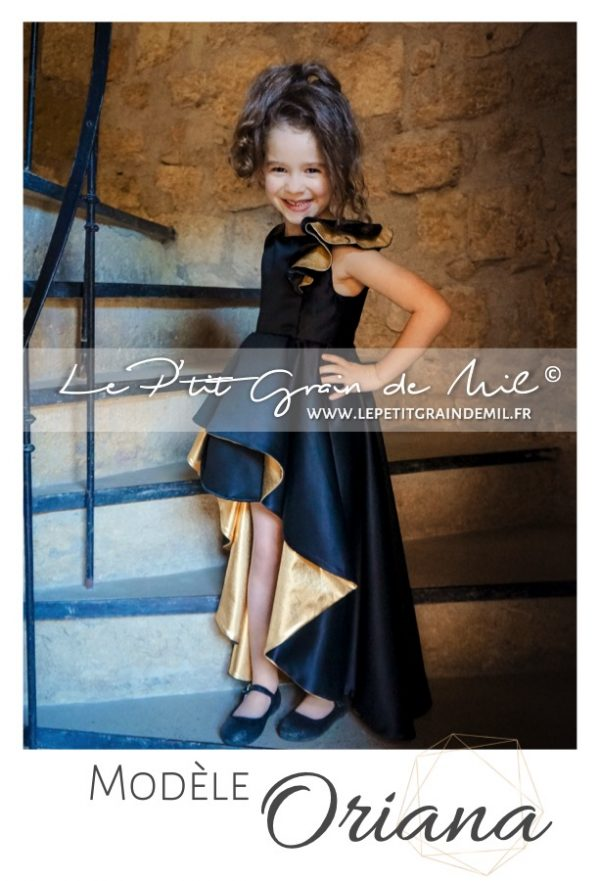 robe de cérémonie soirée enfant fille luxe créateur france satin noire et or mariage