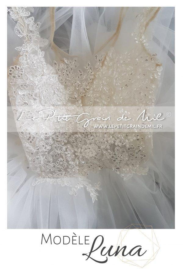 robe de demoiselle d'honneur en tulle et dentelle ivoire soie mini mariée