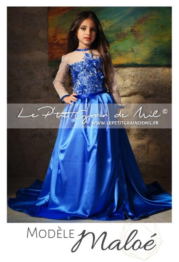 robe de demoiselle d'honneur fillette bleu roi princesse 1001 nuits