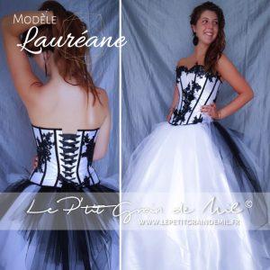 robe de mariée bustier tulle noire et blanche gothique steampunk
