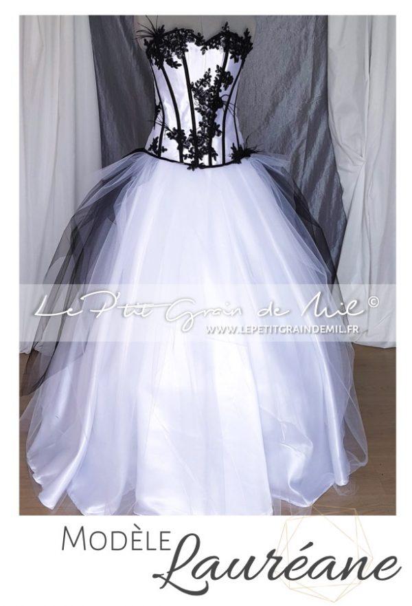 robe de mariée glam rock tulle dentelle chic noire et blanche plumes créateur