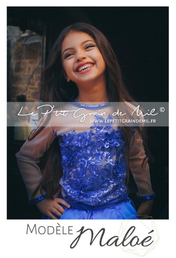 robe de princesse enfant bleu roi mariage cérémonie