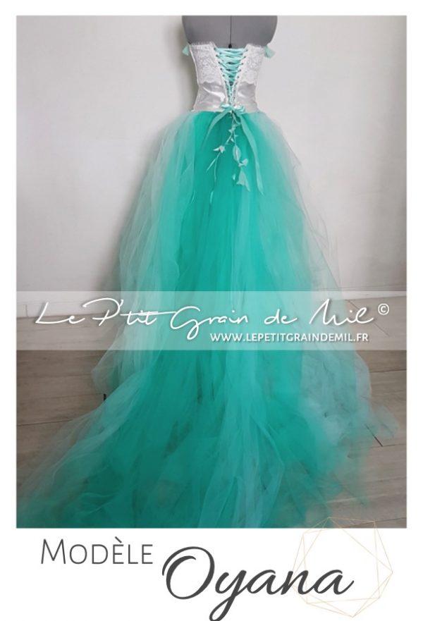 robe de soirée en tulle avec traine amovible