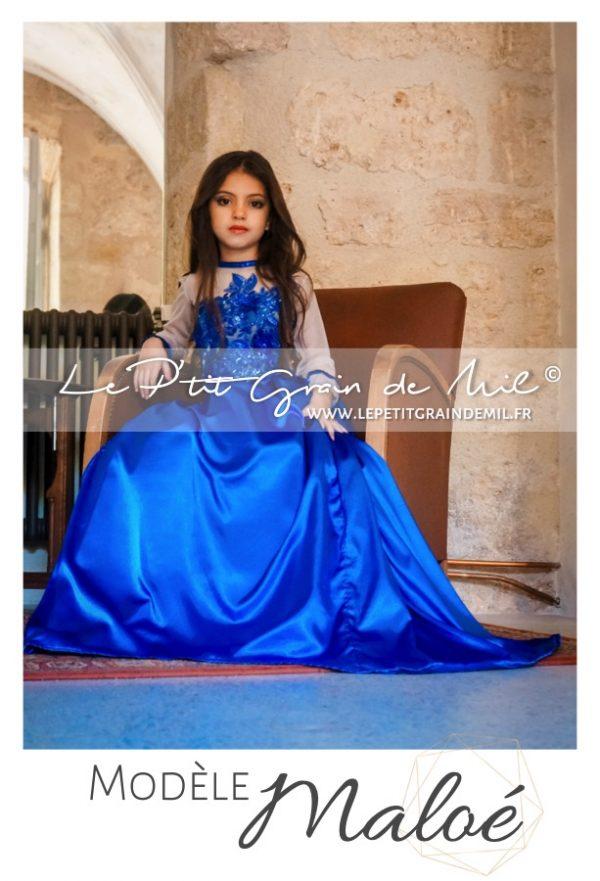 robe de soirée fille bleu roi demoiselle d'honneur princesse