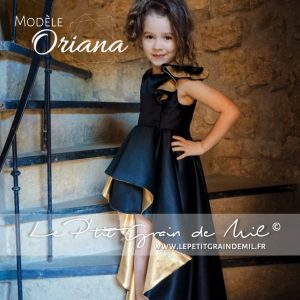 robe de soirée fille enfant pour mariage cérémonie satin noire et or