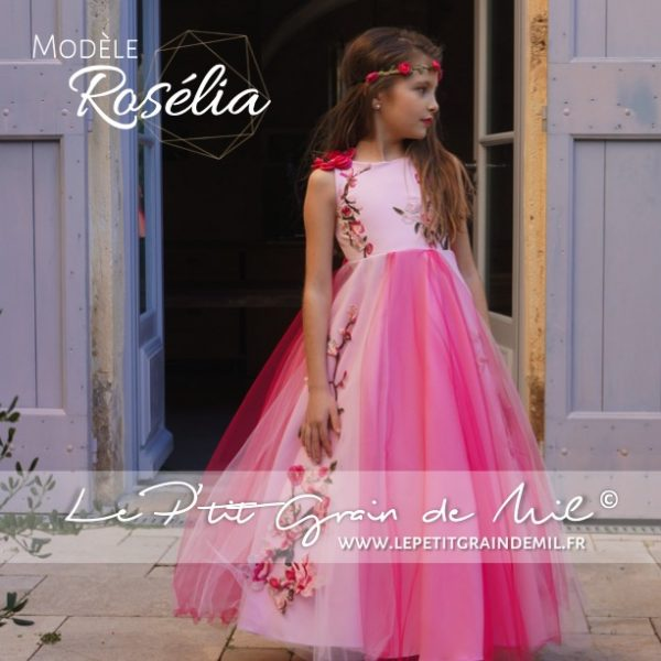 robe demoiselle d'honneur enfant mariage boheme rose fleurs