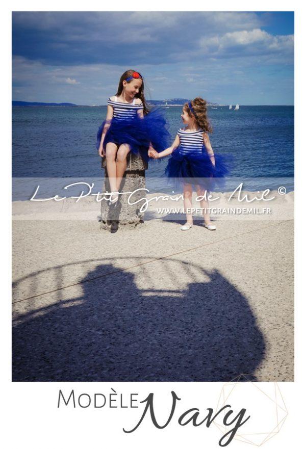 robe marinière enfant tulle bleu marine robe thème mer marin fille