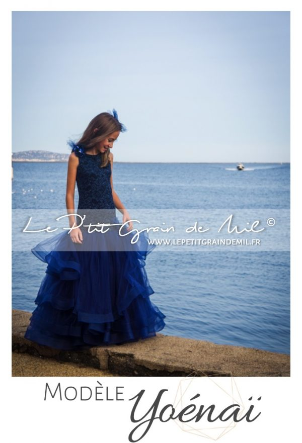 robe petite fille ado forme sirene bleu marine theme mer