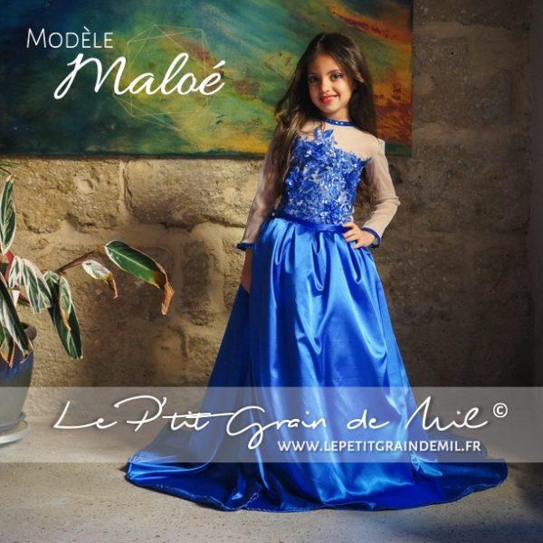 robe princesse 1001 nuits bleu royal enfant fille mariage cérémonie