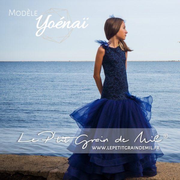 robe sirene enfant bleu marine theme mer marin