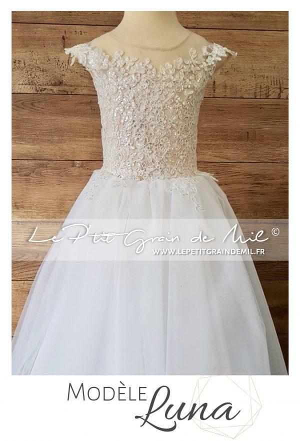 robe tutu cérémonie demoiselle d'honneur dentelle tulle mariage blanc ivoire