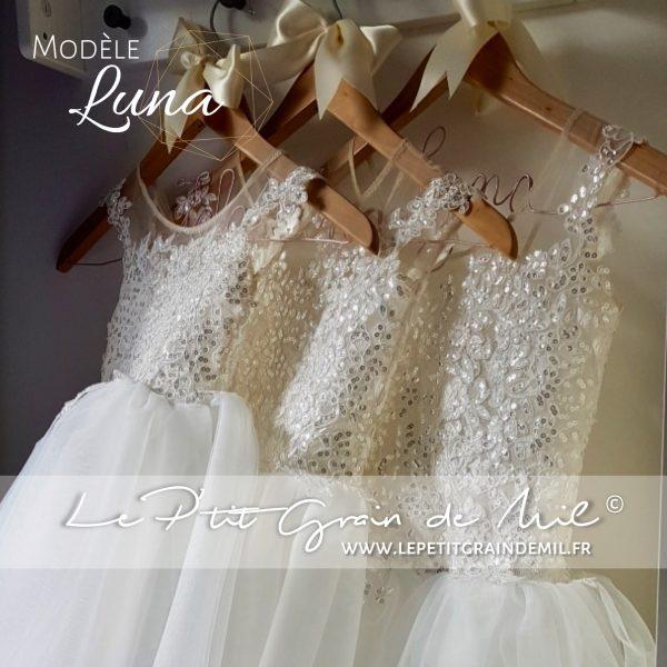 robe tutu ceremonie mariage demoiselle d'honneur dentelle et tulle sequins ivoire
