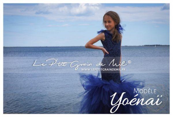 robe tutu de cérémonie enfant forme sirène bleu marine en tulle