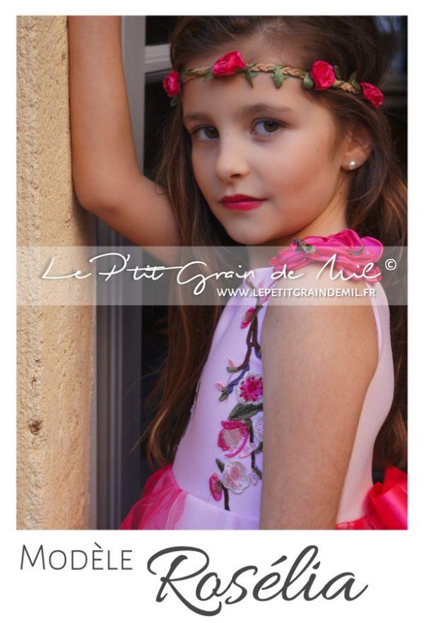robe tutu de cérémonie mariage rose fuchsia enfant petite fille demoiselle d'honneur fleurs