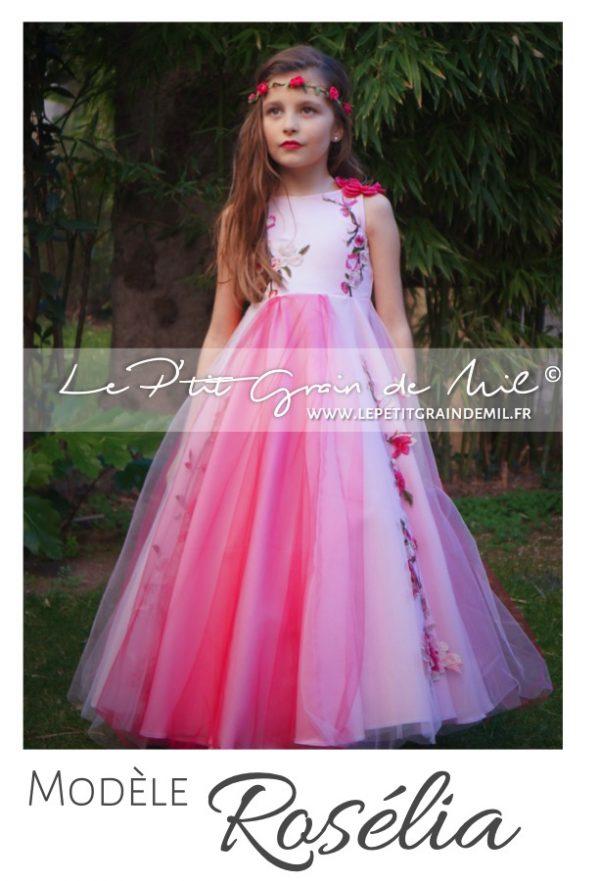 robe tutu de cérémonie petite fille rose fuchsia mariage demoiselle d'honneur