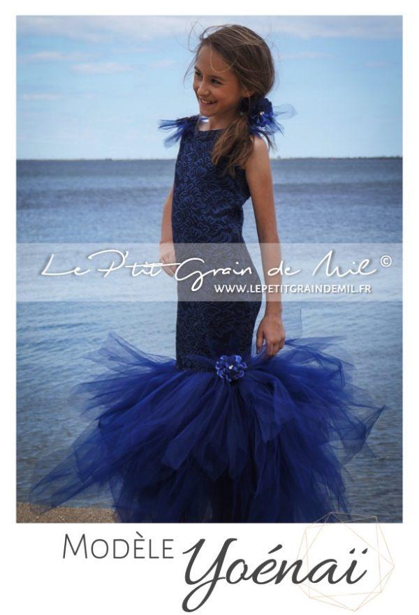 robe tutu de cérémonie sirène ado adolescente bleu marine