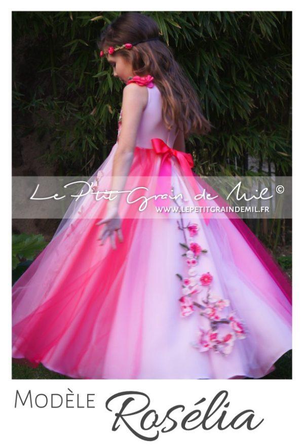 robe tutu demoiselle d'honneur cérémonie enfant rose fleurs broderies tulle fuchsia theme fleurs printemps